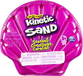 Kinetic Sand 6054245 Seashell Container with 127g Neon Pink and Kinetic Beach Sand, for Kids Aged 3 and Up, Multicolour