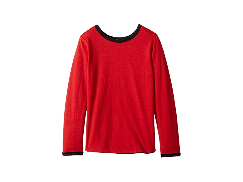 Image of 4Ward Clothing Four-Way Reversible Long Sleeve Scoop Jersey Top (Little Kids/Big Kids) (Black/Red) Girl's Sweater