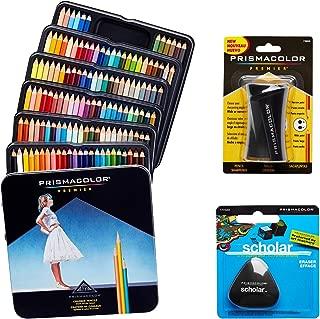 Prismacolor Quality Art Set - Premier Colored Pencils 132 Pack Premier Pencil Sharpener 1 Pack and Latex-Free Scholar Eraser 1 Pack
