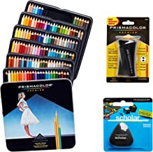 Prismacolor Quality Art Set - Premier Colored Pencils 132 Pack Premier Pencil Sharpener 1 Pack and Latex-Free Scholar Eraser 1 Pack