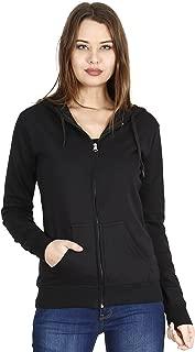 FLEXIMAA Women's Cotton Plain Full Sleeve Hoodies Black Color