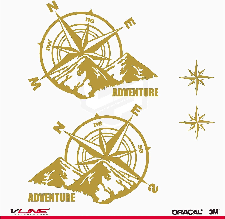 Provinyl Aufkleber Kompass Rosa Windschutz Trail Off Road Geländewagen 4 X 4 Sport 2 Sterne Für Auto Oder Motorrad Orange Auto