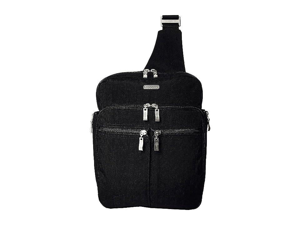 Baggallini Messenger Bag with RFID Wristlet (Black/Sand) Bags