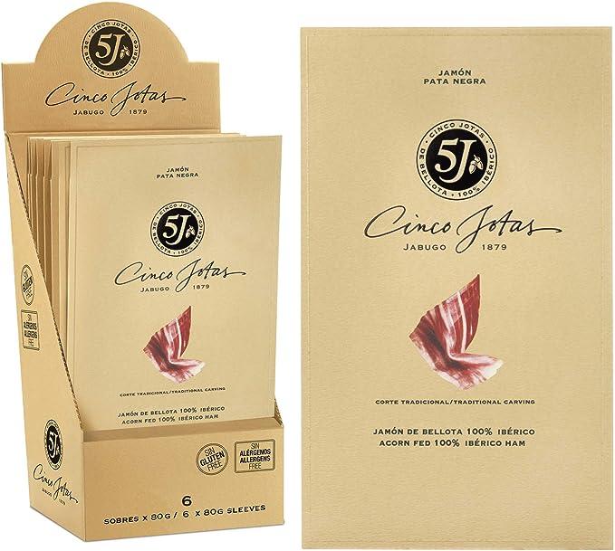 Cinco Jotas - Paleta Bellota 100% Ibérica 5J, caja de 12 sobres de paleta loncheado, 80g: Amazon.es: Alimentación y bebidas