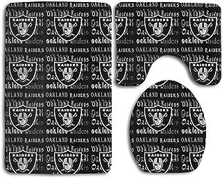 Weckim Oakland Raiders Anti-Skid Lock Water Quick-Dry Bathroom Anti-Skid Three-Piece Set
