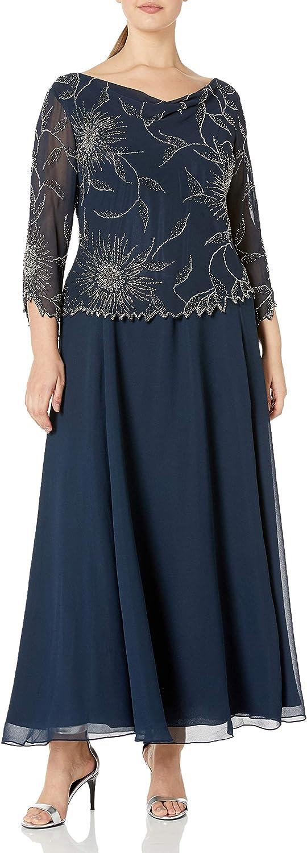J Kara Women's Plus-Size 3/4 Cowl Neck Long Dress