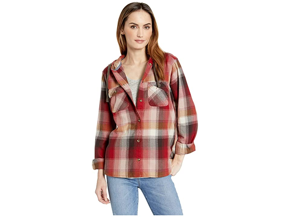 Carhartt Beartooth Hooded Flannel Shirt (Dark Crimson) Women