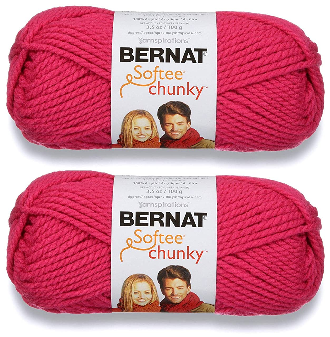 2-Pack - Bernat Softee Chunky Yarn, Hot Pink, Single Ball