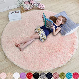 Pink Round Rug for Girls Bedroom,Fluffy Circle Rug 4'X4'...