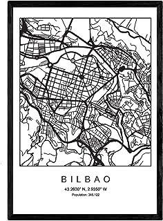 Nacnic Lámina Mapa de la Ciudad Bilbao Estilo nordico en