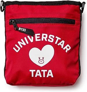 Official Merchandise by Line Friends - TATA Shoulder Messenger Bag Sacoche Purse, Red