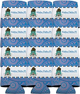 VictoryStore Can and Beverage Coolers - Alpha Delta Pi, Paisley Print Design, Set of 12