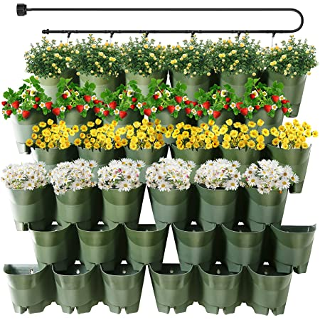 Worth Garden 36 Pockets Self Watering Vertical Planters Indoor Outdoor Living Wall Mounted - 9' Automatic Dripping Irrigation System Hose Kit Stackable Plastic Pot Herb Plants Home Balcony Decoration