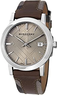 Men's BU9020 Large Check Leather on Canvas Strap Watch
