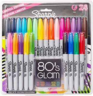 Scienish Sharpie Permanent Markers, Fine Point, Limited Edition 80s Glam Colours - Pack Of 24
