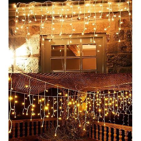 Salcar 120球USB式 3MLEDイルミネーションライト リモコン付き 8種点灯モード 電飾 防水 窓飾り カーテンライト クリスマスライト ストリングライト