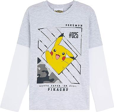 Pokèmon Camiseta Niño, Camisetas de Manga Larga Gris y Negra ...