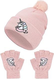 QKURT Juego de guantes de invierno para gorro de invierno, con diseño de unicornio, ideal para niños de 7 a 13 años