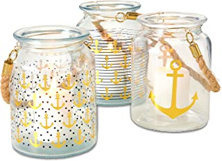 Beach Chic Nautical Hurricanes, Set of 3, Rustic Rope Handles, Anchors Away Pattern, Candle Holder, for LED or Wax Votive, Pillar or Tealights, Wind Lights, 6 Inches Tall Cape Cod Style