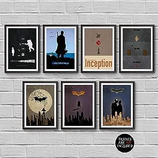Christopher Nolan Minimalist Poster Set of 7 Films Interstellar Batman Begins The Dark Knight The Dark Knight Rises Inception The Prestige Dunkirk Print Wall Artwork Home Decor Hanging Cool Gift