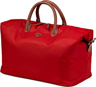 Womens Iconic Overnight Duffle Bag - Stylish Tote for the Professional Business Woman - Luxurious, Lightweight Weekender Duffel with Genuine Leather Trim. Foldable Travel Luggage Organizer w/ Shoulder Strap. Top Gifting Idea!