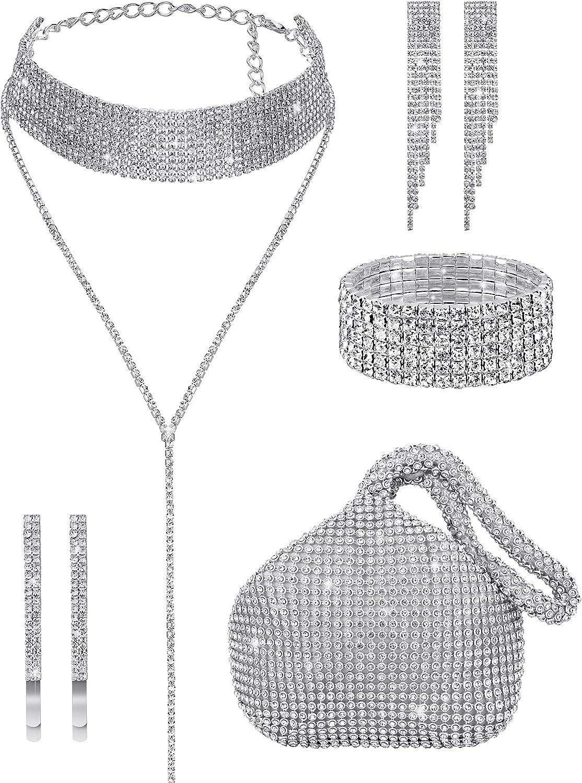 7 Pieces Women Crystal Jewelry Set Include Rhinestone Tassel Choker Necklace Triangle Bling Glitter Purse Rhinestone Stretch Bracelet Bangle Crystal Dangle Fringe Earring Rhinestone Hair Clip