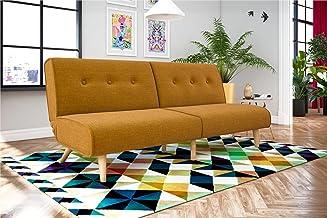 Novogratz Palm Springs Convertible Sofa Sleeper in Rich Linen, Sturdy Wooden Legs and Tufted Design, Mustard Linen