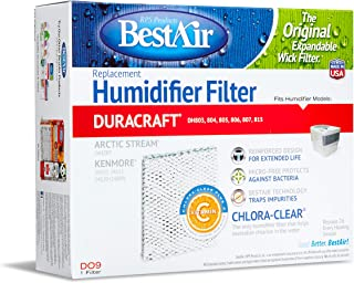 BestAir DO9 Extended Life Humidifier Replacement Paper Wick Humidifier Filter, Duracraft DH803, 804, 805, 806, 807, 815, DA1007 (AC-809) Kenmore 14102, 8.6