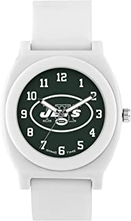 Game Time Women's 'Fan' Quartz Plastic and Rubber Casual Watch, Color:White (Model: NFL-FNW-NYJ)