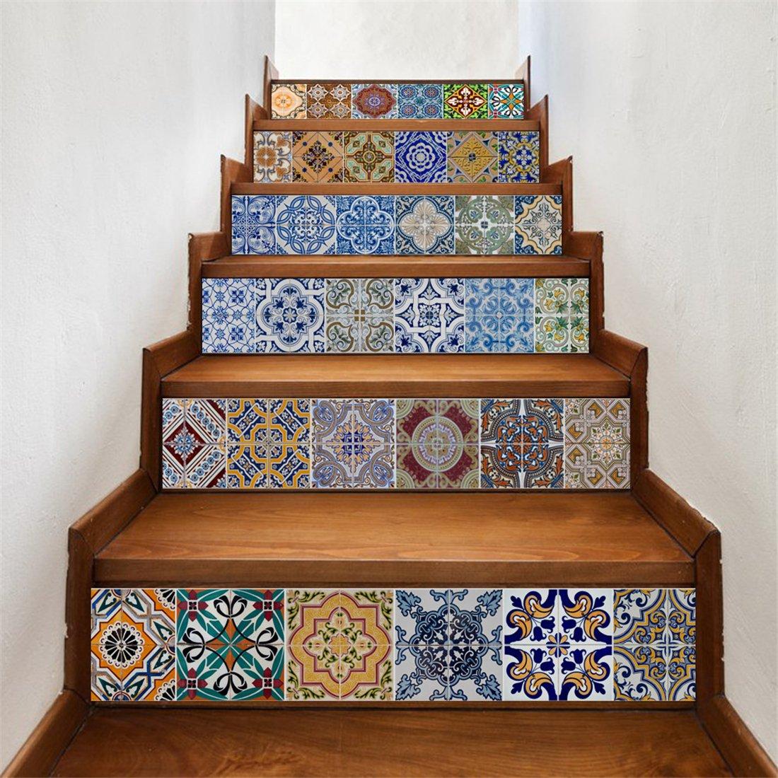 GWELL Etiquetas Engomadas de la Pared de la Escalera Decoración Hogareña Vinilo Autoadhesivo Extraíble Adhesivo para Escaleras de Bricolaje (18cm * 100cm, 6 piezas, azulejos con patrón): Amazon.es: Bricolaje y herramientas