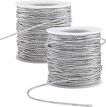 PH PandaHall 109 Yards 2mm Metallic Cord Silver Braided Metallic Beading Cords Metallic Tinsel Cord Tinsel String for Gift...