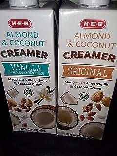 H E B Almond & Coconut Creamer 32 oz 2 Pack Original and Vanilla