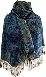 Women's Pashmina Blanket Scarf Bohemia Floral Soft Wool Over Size Warmly Winter Shawl Free Style Colorful Green Blue