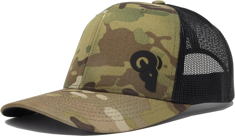 RAM ADVANTAGE Sportsman Trucker Hat   Silicone Logo Mesh Snapback Cap Premium Quality Durable Comfortable Fit