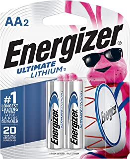 Energizer AA Lithium Batteries, World's Longest Lasting Double A Battery, Ultimate Lithium (2 Battery Count) - Packaging May Vary