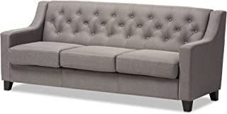 Baxton Studio Gervaise Modern and Contemporary Fabric Upholstered Button-Tufted Living Room 3-Seater Sofa, Grey