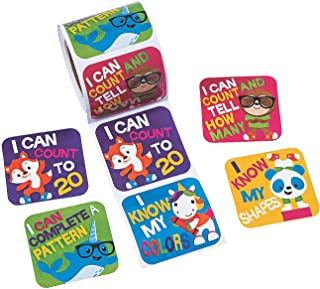 Fun Express Prek/K Math Goals Roll Stickers - 1 Piece - Educational and Learning Activities for Kids