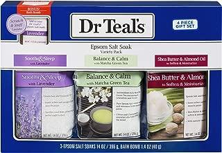 Dr Teal's Epsom Salt Gift Set 2019-3 Pack Includes Lavender, Matcha Green Tea, Shea Butter - A Bath Lover's Dream