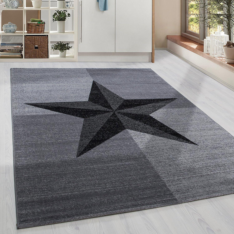 HomebyHome Moderner Kurzflor Guenstige Teppich Stern gesäumt Schwarz Grau Weiss meliert 5 Groessen Wohnzimmer, Jugendzimmer, meliert Kinderzimmer, Größe 200x290 cm B077DZCRKW