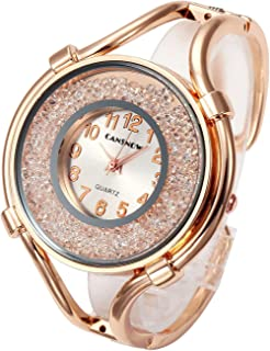 Women Ladies Casual Luxury Gold Silver Rose Gold Tone Alloy Analog Quartz Bracelet Watch Big Face Small Dial Rhinestones Decorated Elegant Dress Bangle Cuff Wristwatch