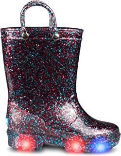 ZOOGS Kids Toddler Rain Boots for Girls and Boys with Glitter and Handles