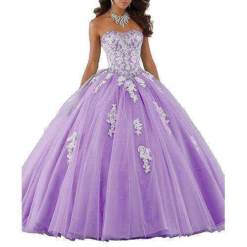 caa7aa8bb5b Eldecey Women s Lace Applique Floor Length Tulle Ball Gown Quinceanera Dress