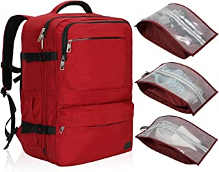 44L Carry on Backpack Flight Approved Compression Travel Pack Cabin Bag (Red Backpack With Red Shoe Bag Set of 3)
