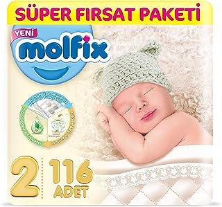 Molfix 3D Bebek Bezi, Super Fırsat Paketi, 2 Beden Mini, 116 Adet