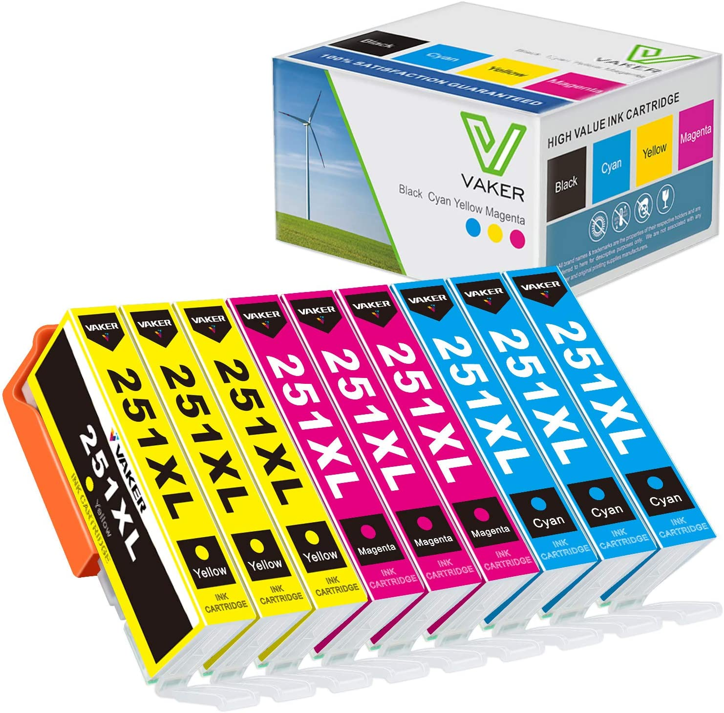VAKER Compatible Canon 251 Inkjet Printer Ink Cartridge Tray Replacement for Canon CLI-251 XL 251 XL to fit with PIXMA MX922 MX722 MX920 MG7520 MG5520 MG5420 MG7120 MG6320 Printer (9 Pack)
