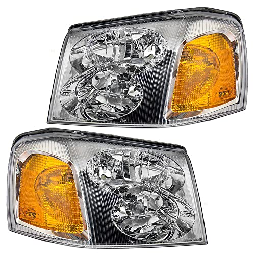 Driver and Passenger Headlights Headlamps Replacement for GMC SUV 15866071 15866070