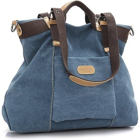 LOSMILE Damen Handtasche, Canvas Umhängetasche. (Blau)