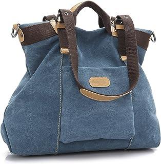 LOSMILE Damen Handtasche, Canvas Umhängetasche. Blau