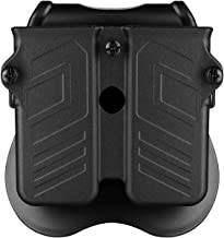 CYTAC Double Magazine Pouch, Universal Mag Holsters Fit 9MM .40 .45 Caliber Single or Double Stack Magazines, Polymer OWB Belt Mag Holder with 360° Adjustable Paddle