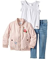 Hudson Kids - Three-Piece Puffer Jacket Slub Jersey Top Stretch Denim (Infant)